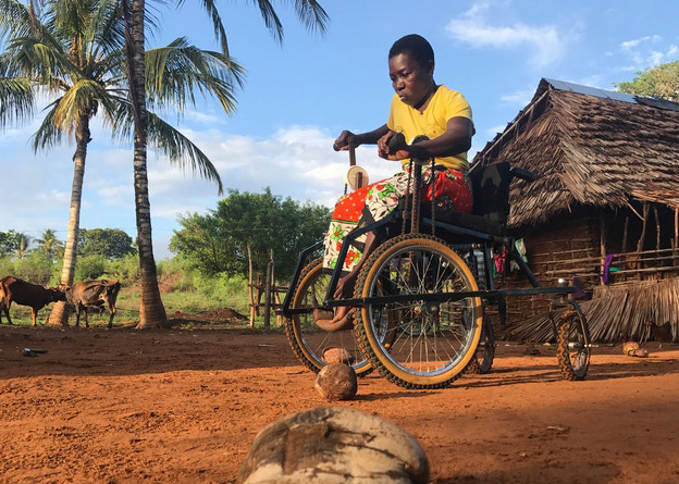 A local Kenyan lady manoeuvres her Safariseat wheelchair around a line of coconut shells. She is wearing a bright yellow top and a traditional orange patterned skirt with bare feet. The ground is a rich orange colour with the sandy soil and there are two palm trees in the background next to her mud hut, with a couple of skinny cows standing in the shade.