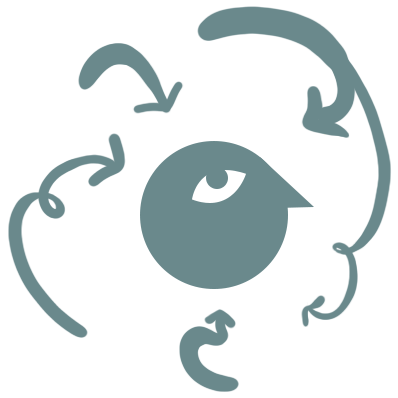 A minimalist cartoon head surrounded by swirling arrows pointing towards it like a thought process