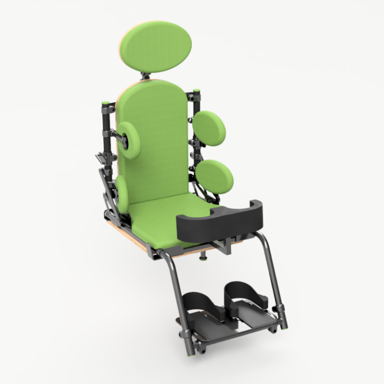 computer rendering of a postural support seat for children, with bright green padding and adjustable knee blocks and foot rests.