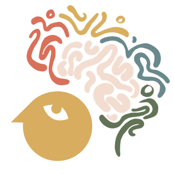 A minimalist cartoon head surrounded by swirling colourful lines in the shape  of a brain-shaped thought bubble