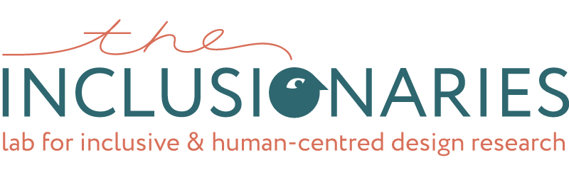 The inclusionaries Logo - the letter o in the middle is in the shape of a minimalist cartoon head with an eye. The text is a dark teal and the subheading reads: lab for human-centred design, research and innovation. it is written in a dark orange colour. The background of this page is a natural peachy colour.